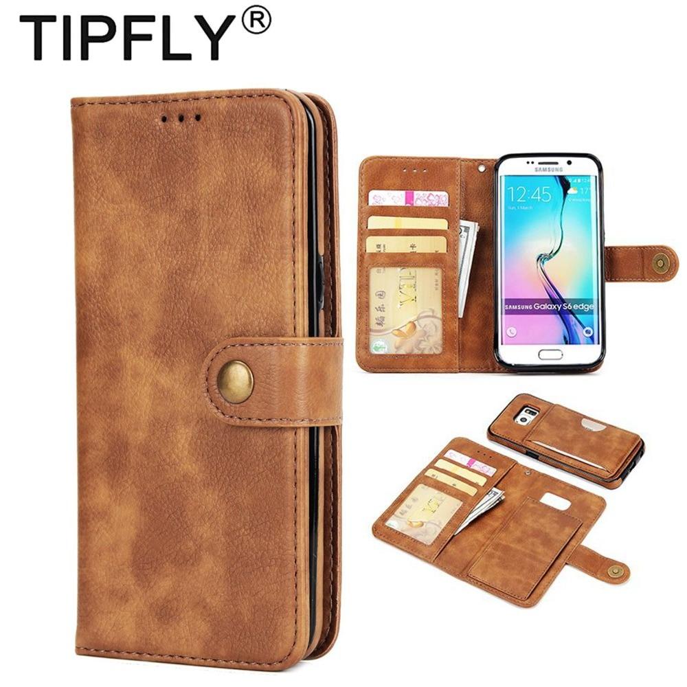 Tipfly Магнитный 2 в 1 из искусственной кожи съемный чехол для Samsung Galaxy S6 S7 Edge откидная крышка Подставка бумажник телефон сумка W отделения для ка...