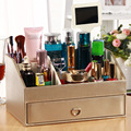High Quality PU Makeup Organizer Storage Box Tabletop Make up Organizer for Lipstick Perfume Nail Polish Holders
