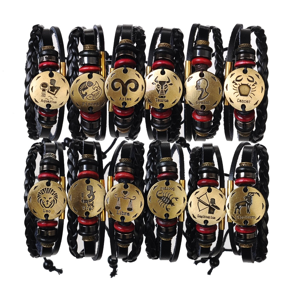 New 12 Constellations Braided Aquarius Genuine Leather Bead Charm Men Punk Cowhide rope Bracelet Bangles For Women Fine Jewelry