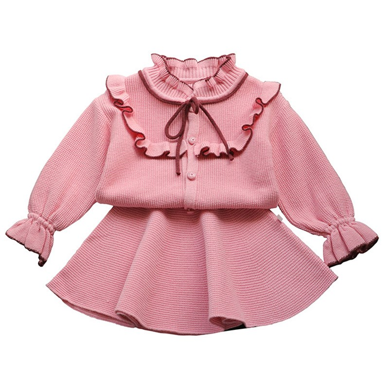 feea2c4a3 New baby girls clothing set knitted clothes suit shirt + skirt 2 ...