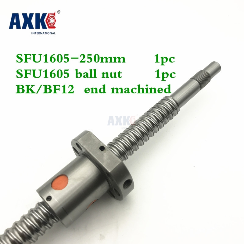 16mm 1605 Ball Screw Rolled C7 ballscrew SFU1605  250mm with one 1605 flange single ball nut for CNC parts free shipping sfu1605 rolled ball screw c7 with 1605 flange single ball nut for cnc parts rm1605 for different length