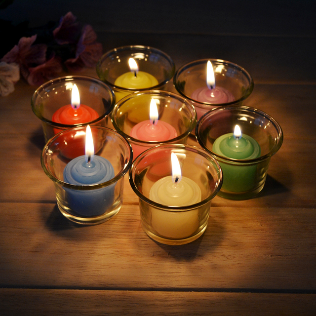 Attractive Candle Decoration Part - 13: 12pcs 7-color Decorative Candles Romantic Aromatherapy Smokeless Oil Candle  For Birthday / Wedding Decoration