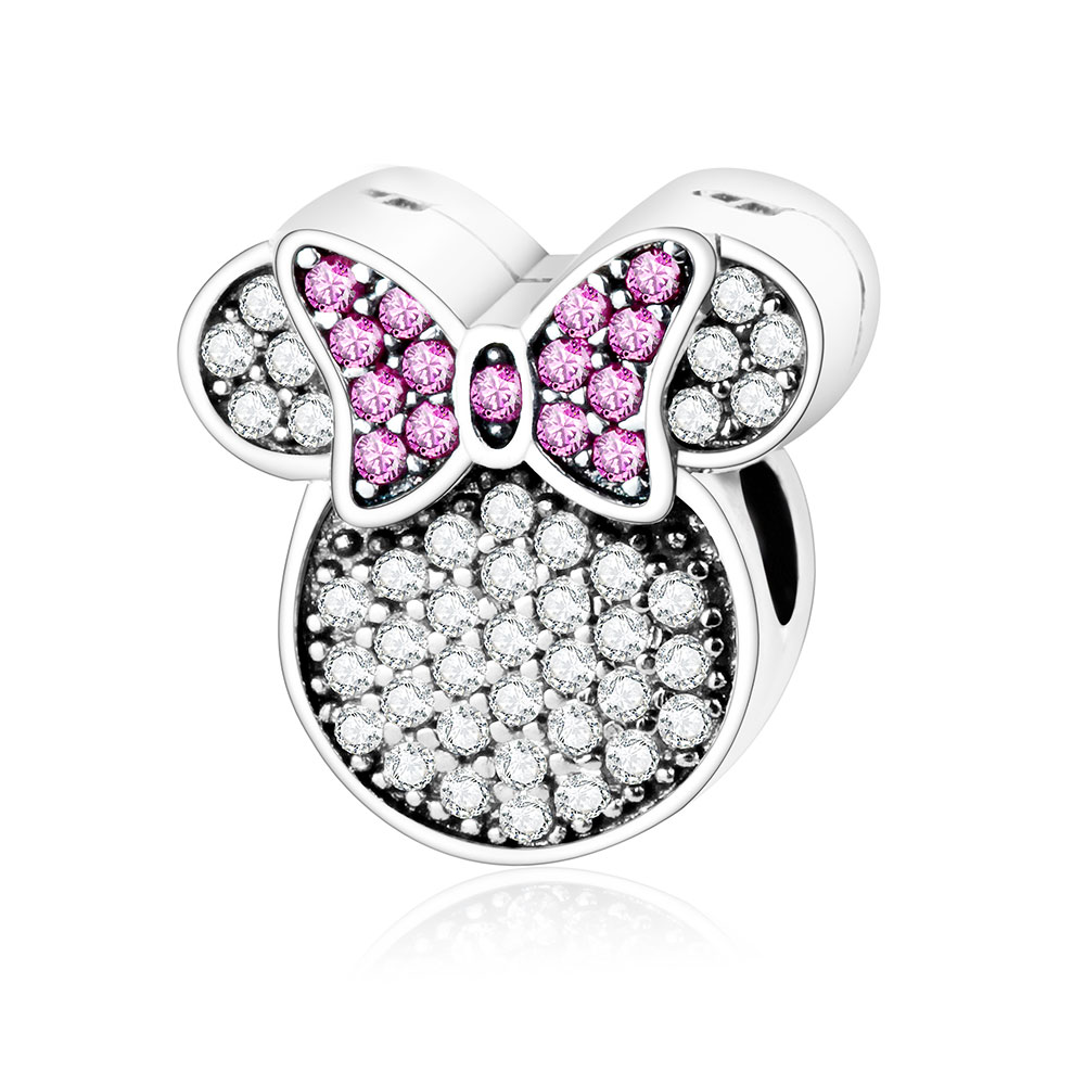 Plata de ley 925 Fit Orignal Pandora Charm Bracelet Cartoon Bead Joyería DIY Mickey y Minnie Kiss Clip Charm 2016 Invierno