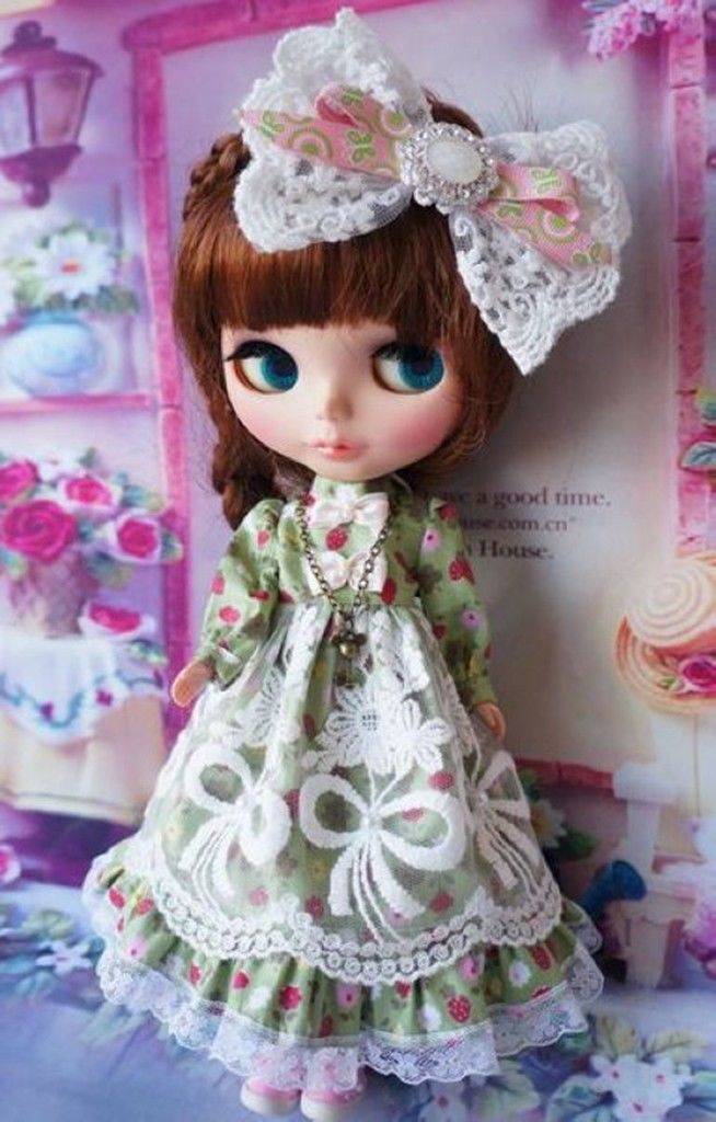 Set Outfit Pullip Green Blyth Handmade Doll Dress Cute Azone [Wamami] Lolita кукла an gaga hand white angel set blythe yosd pullip dal
