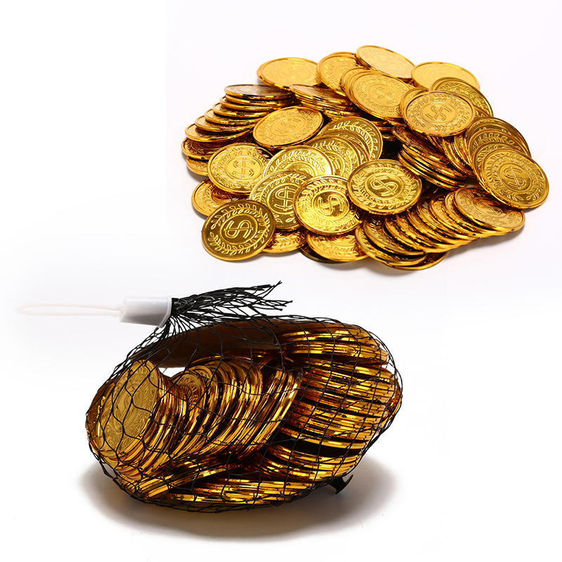 100Pcs Gold Treasure Coins Captain Pirate Party Supplies Pretend Treasure Chest Kids Toy Coins Wedding Birthday Chip Decoration
