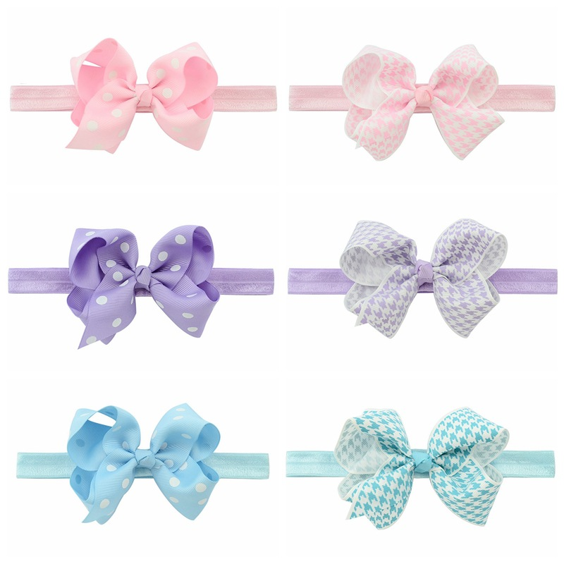 Headband Baby Girl Hair Bow Newborn Elastic Hair Band Kids Cute Children Hair Accessories Ribbon Head Band with Dot 6Pcs/Lot 6pcs lot 2016 new baby girls elastic headband silky fabric flower head band newborn infant hair band kids baby hair accessories
