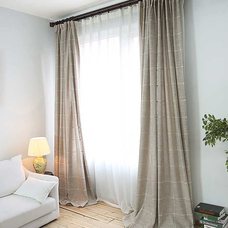 Simple Solid Plaid Cotton Linen Curtains Grey Coffee Semi Shading Window Treatment Drapes Bedroom Balcony Continas WP215C