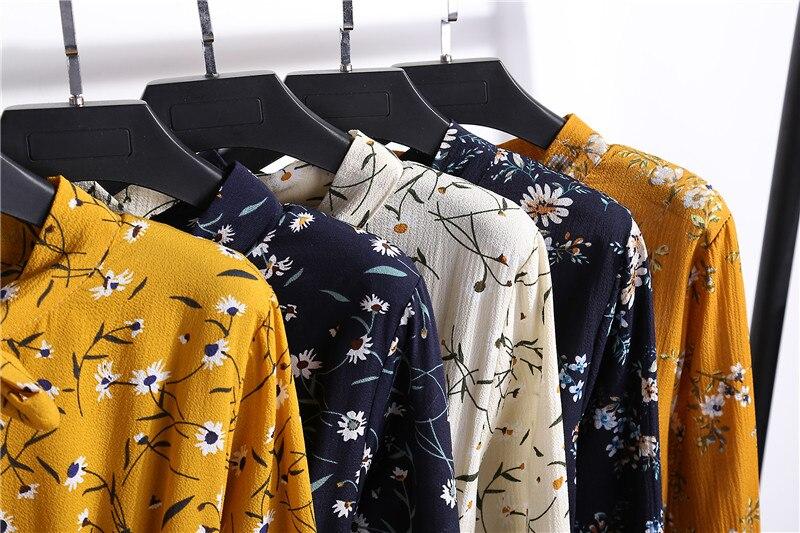 Summer Korean Chiffon Women Dress Elegant Ladies Vintage Long Dress Boho Floral Office Long Sleeve Vestidos Clothing 5LYQ003 63