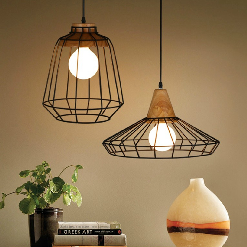Loft industrial vintage wood pendant lights Bar Kitchen Home Decoration E27 Edison Light Fixtures bird cage Lamp rattan wicker pendant lights kitchen restaurant vintage bird cage lampshade classical chinese light modern design decoration