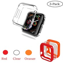 3-Pack Ultra-Thin Soft TPU Watch Case for Apple 4 Full Coverage Transparent Protect iWatch Series