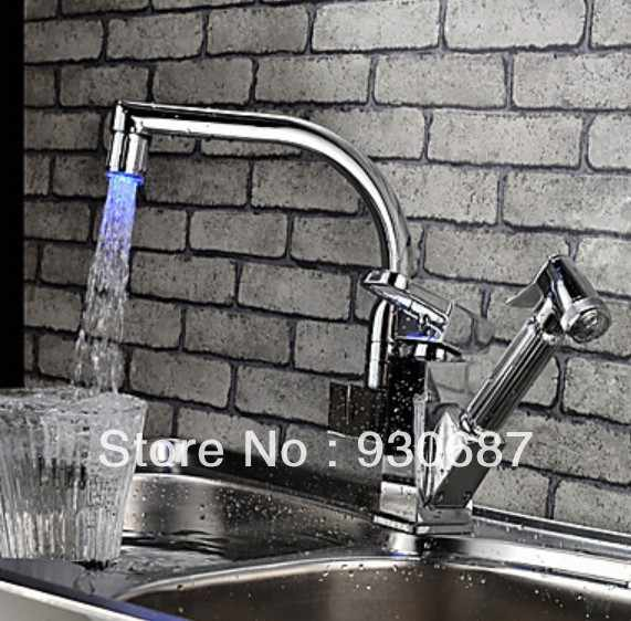 360 degree Swivel Color Changing LED Kitchen Faucet Pull Out Polished Chrome Basin Mixer Brass Tap|кран логотипы|смесители
