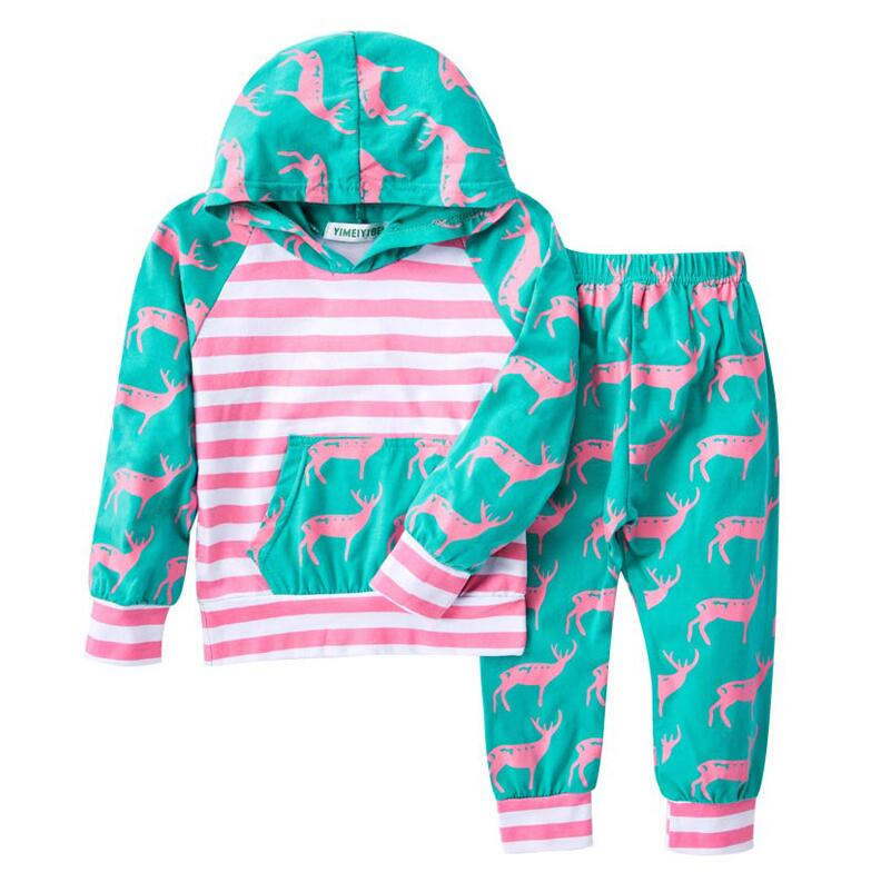 Girls Sports Clothes Sets Children Clothing Girl Striped Cotton Hooded T-Shirt Tops And Pants Suit Baby Kids Clothes Sportswear