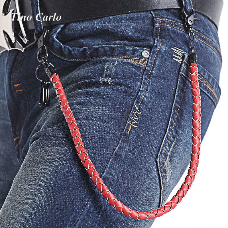 25u0026quot; New Summer Fashion Jeans Wallet Chians Leather Braid Belt Chain Punk Men Women Fashion ...