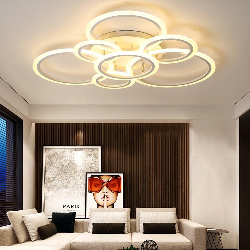 все цены на Modern Ring LED Ceiling Lights For Living room Bedroom Acrylic Plafonnier LED Ceiling Lamp iluminacion techo Lighting Fixtures онлайн