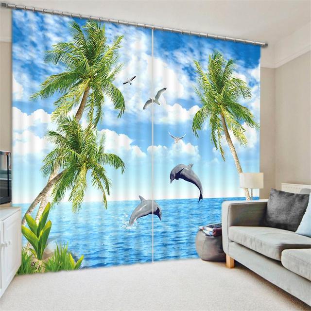 Bluesky Ocean Beach Rock Palm Tree Scenery 3D Printed Window Decor Curtains  Room Darkening Drapes For