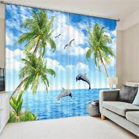 Bluesky Ocean Beach Rock Palm Tree Scenery 3D Printed Window Decor Curtains Room Darkening Drapes for Bedroom or Living Room