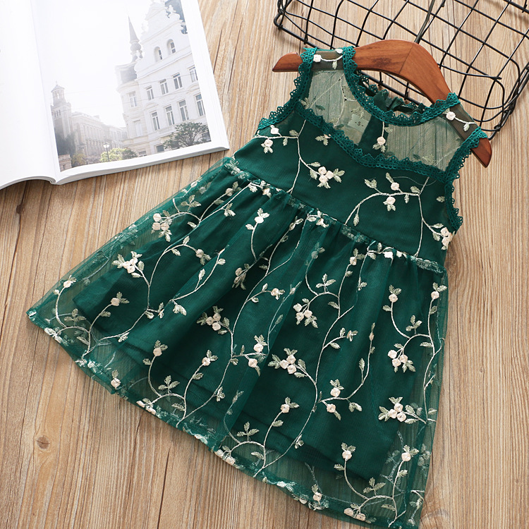 new kids clothes wedding party   flower     girl     dresses   for 0-8 years baby wear Grass green pink beige voile backless summer   dress