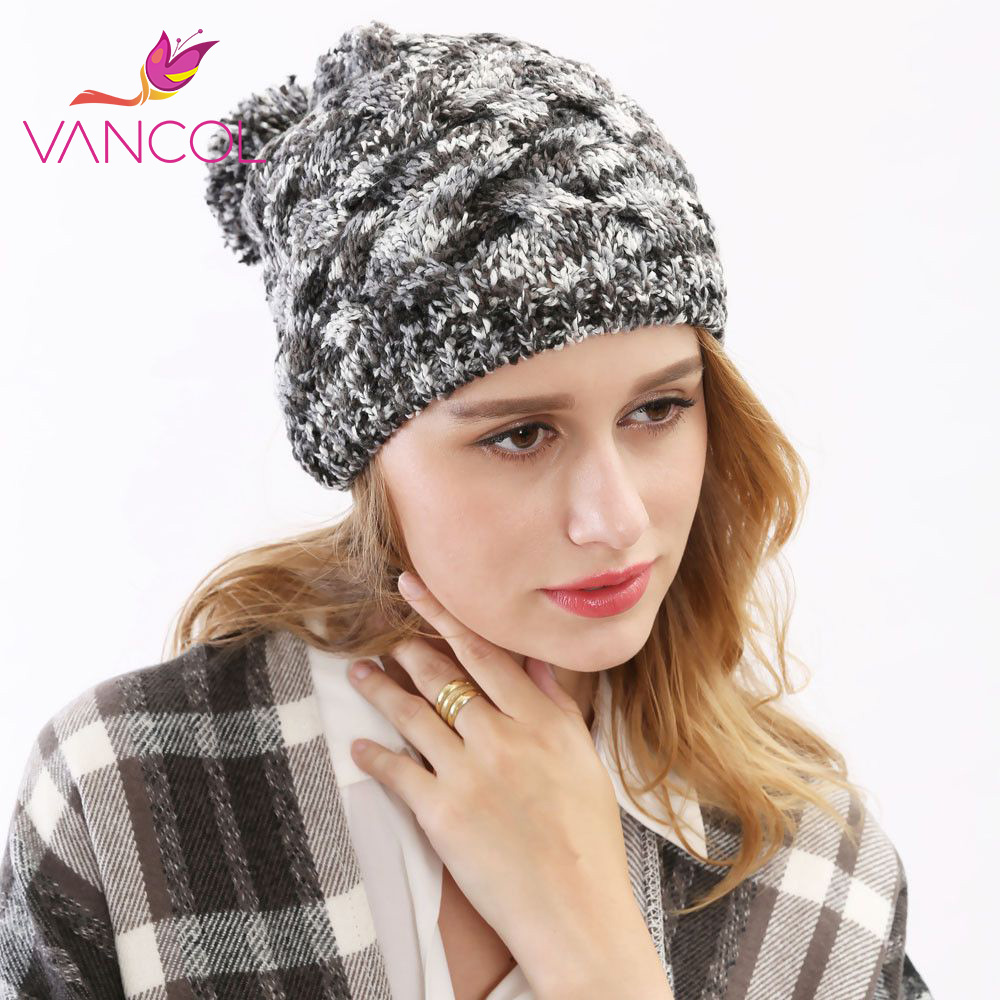 2015 Hot Sale Wool Hats Paisley Yarn Knitted Hat Skullies Beanis Gorros De Lana with Fur Ball High Quality Winter Hats for Women fashion crochet flower hat cap wool knitted hats for women skullies caps for the old lady s women gorros de lana