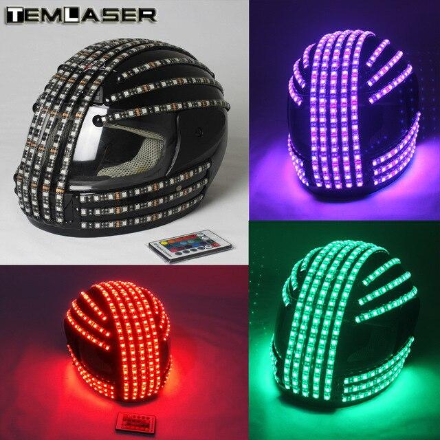 RGB 컬러 LED 헬멧 몬스터 마스크 공연을위한 빛나는 모자 댄스 복 DJ 헬멧 LED 로봇 퍼포먼스 파티 쇼
