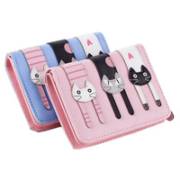 Top Quality New Arrival Cat Wallet Pu Leather Women Wallet Zipper And Hasp Design With