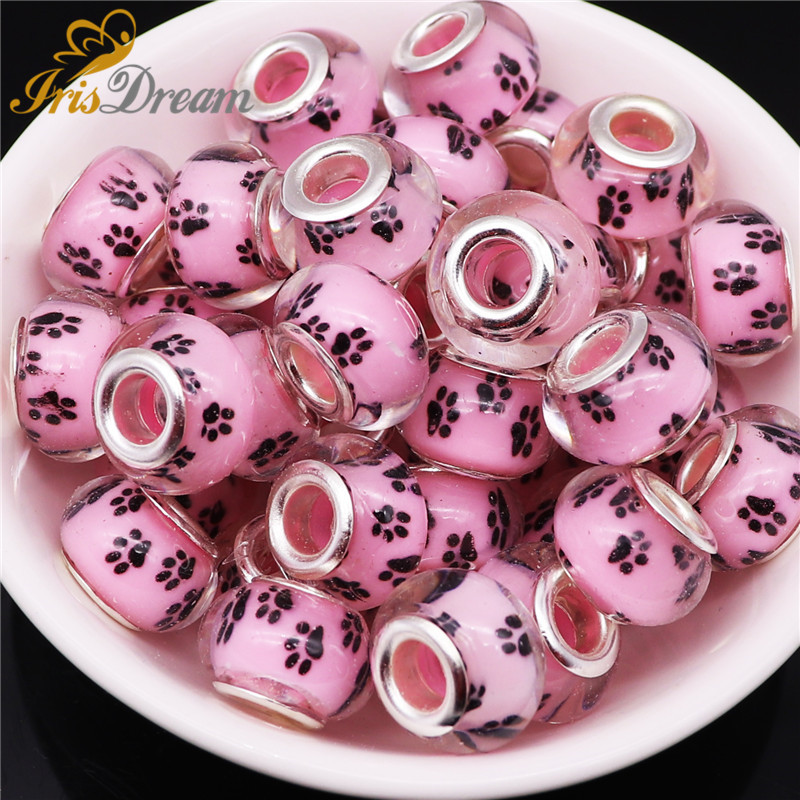 10Pcs Cute Dog Paws Acrylic Charms Large Hole Spacer European Beads fit Pandora Bracelet Chain Necklace Bead for Jewelry Making in Beads from Jewelry Accessories