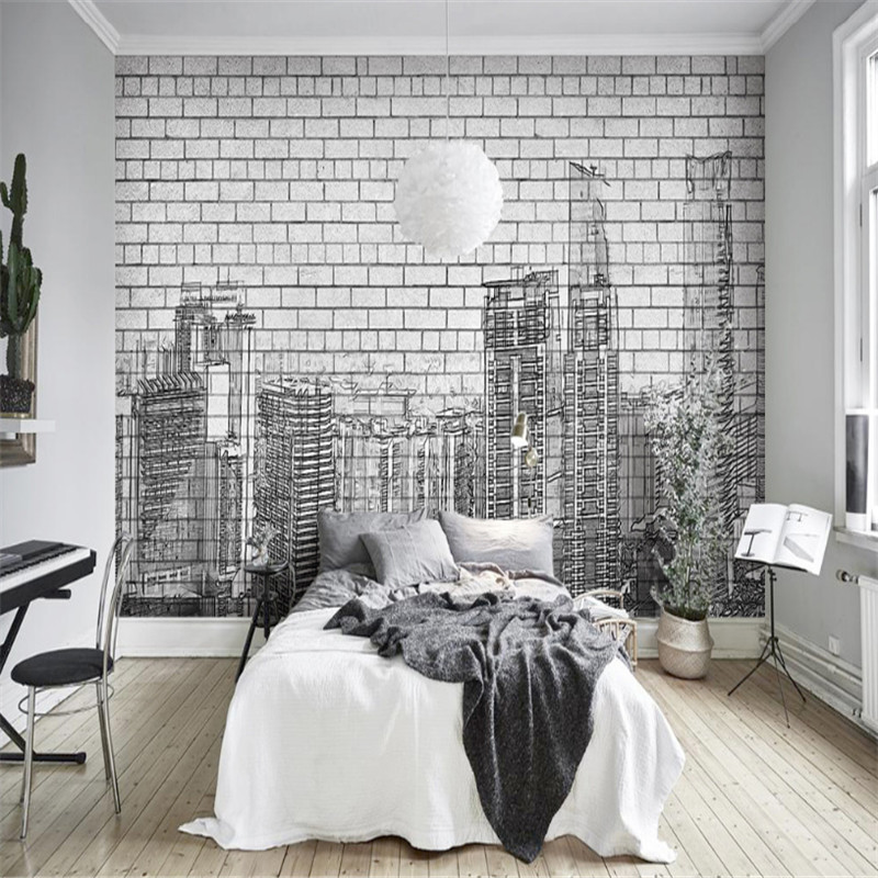 3 d Custom Modern Photo Wallpaper Black and White Wallpaper Brick Wall Papers Hand Painted City Landscape Line Mural Home Decor подсвечники rich line home decor подсвечник