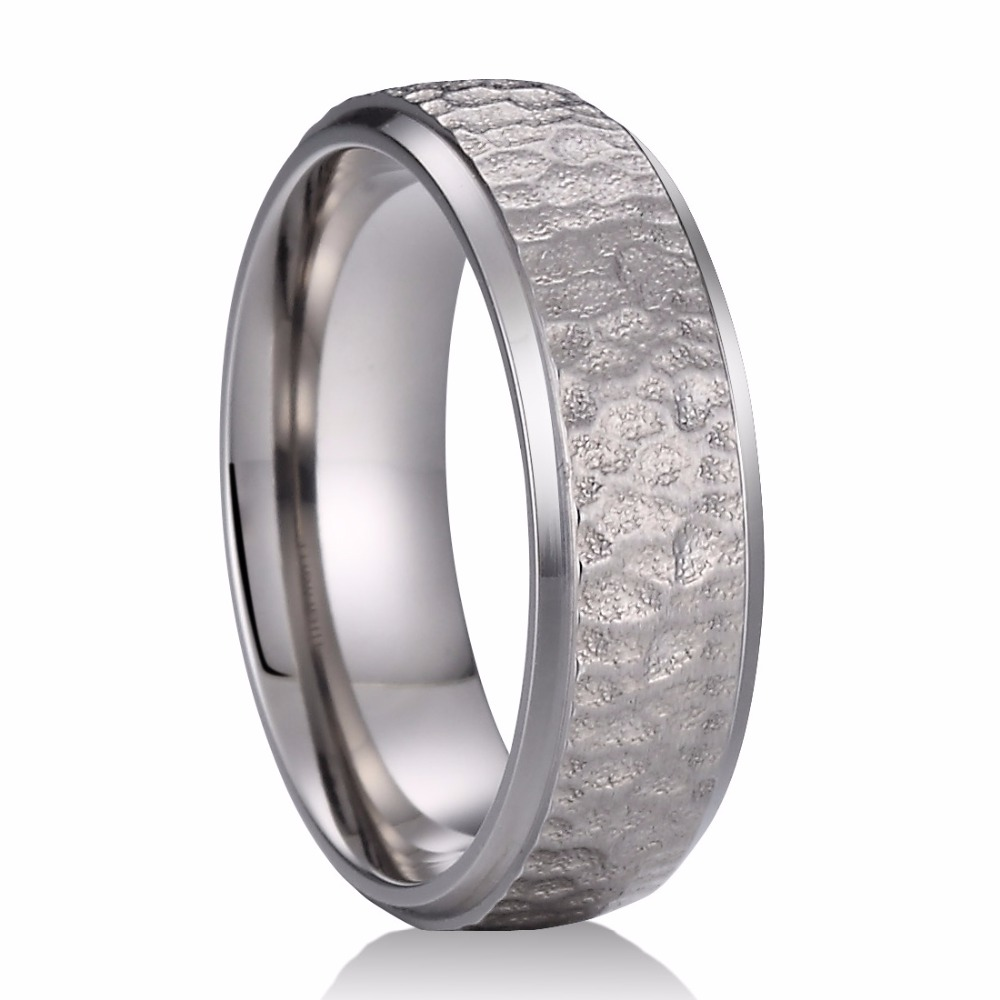 7mm Pure Titanium Ring Multi-faceted Hammered Polished Finish Comfort Fit Men & Women Wedding Band anel custom size hammered pattern pure titanium steel jewelry engagement ring wedding band for men