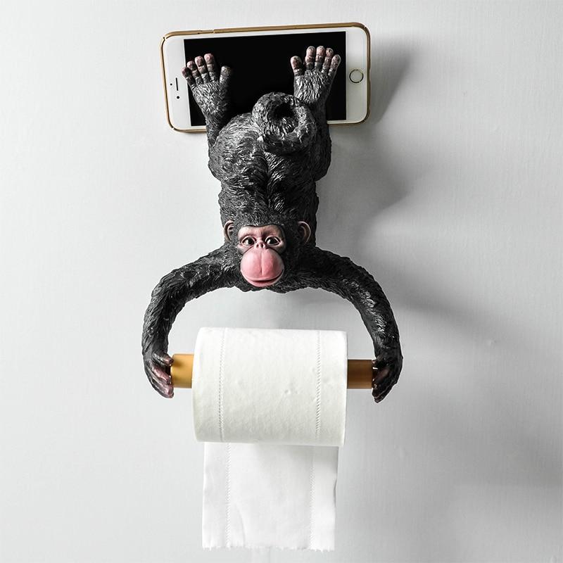 수지 원숭이 욕실 타월 랙 크리 에이 티브 유럽 욕실 화장실 롤 홀더 종이 카세트 홀더 펌핑 트레이 장식-에서피규어 & 미니어처부터 홈 & 가든 의  그룹 1