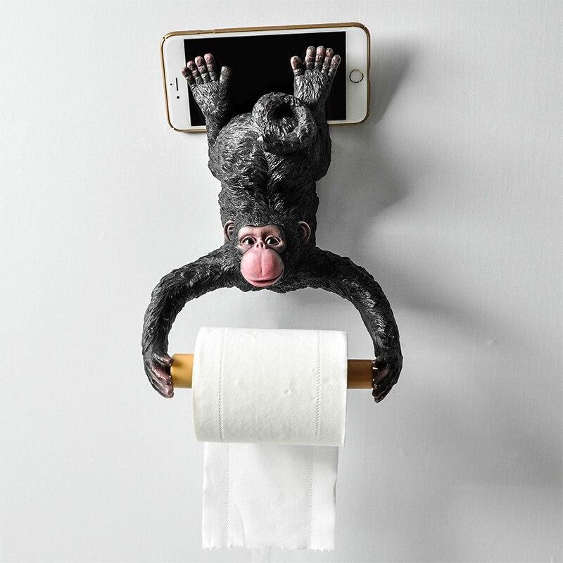 Résine singe salle de bains porte-serviettes créatif européen salle de bains toilette rouleau titulaire papier Cassette titulaire pompage plateau décoration