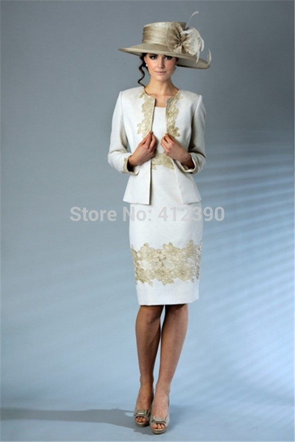 Aliexpress White Satin Gold Lace Liques Knee Length Mother Of The Bride Dresses With Long Sleeves Jacket Formal Evening From Reliable