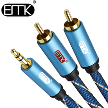 EMK Jack 3.5mm to RCA Hifi Splitter Audio Cable Car PC Earphone Sound box 3.5 to 2 RCA Speaker Cable 1M 2M 3M 5M alloyseed 1 5m 3m 5m 3 rca to rca audio video cable male to male 3rca to 3rca audio video av cable cord wire for dvd tv