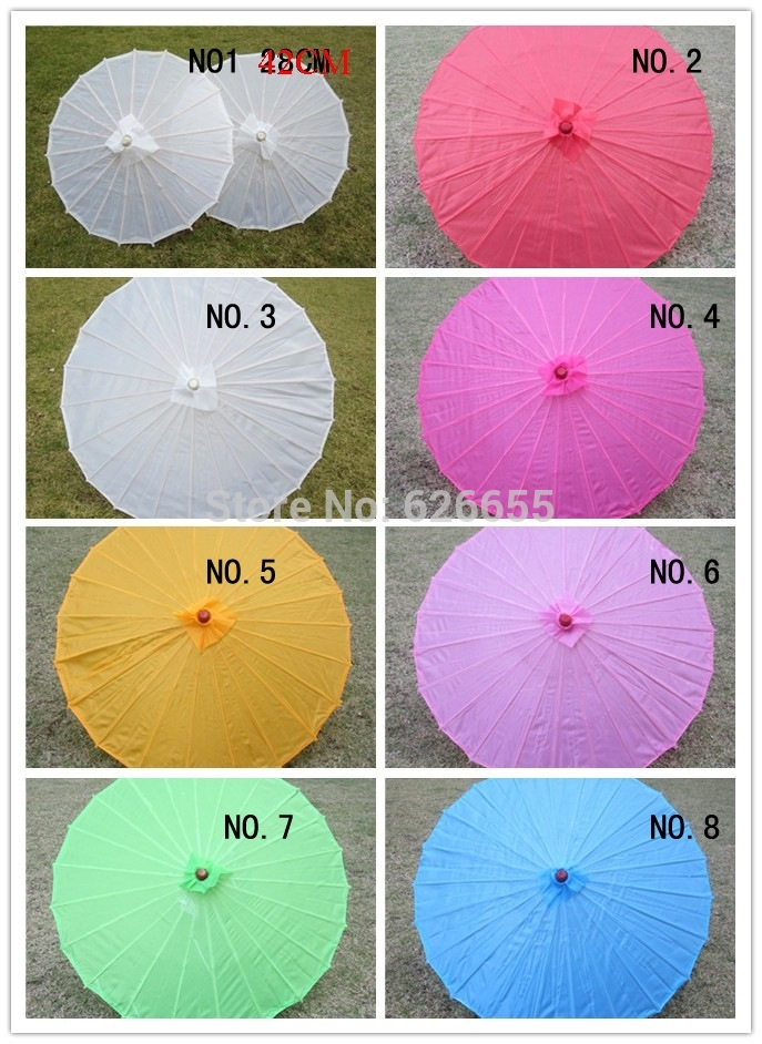 Free shipping Chinese colored fabric umbrella white pink parasols China traditional dance color parasol Japanese silk