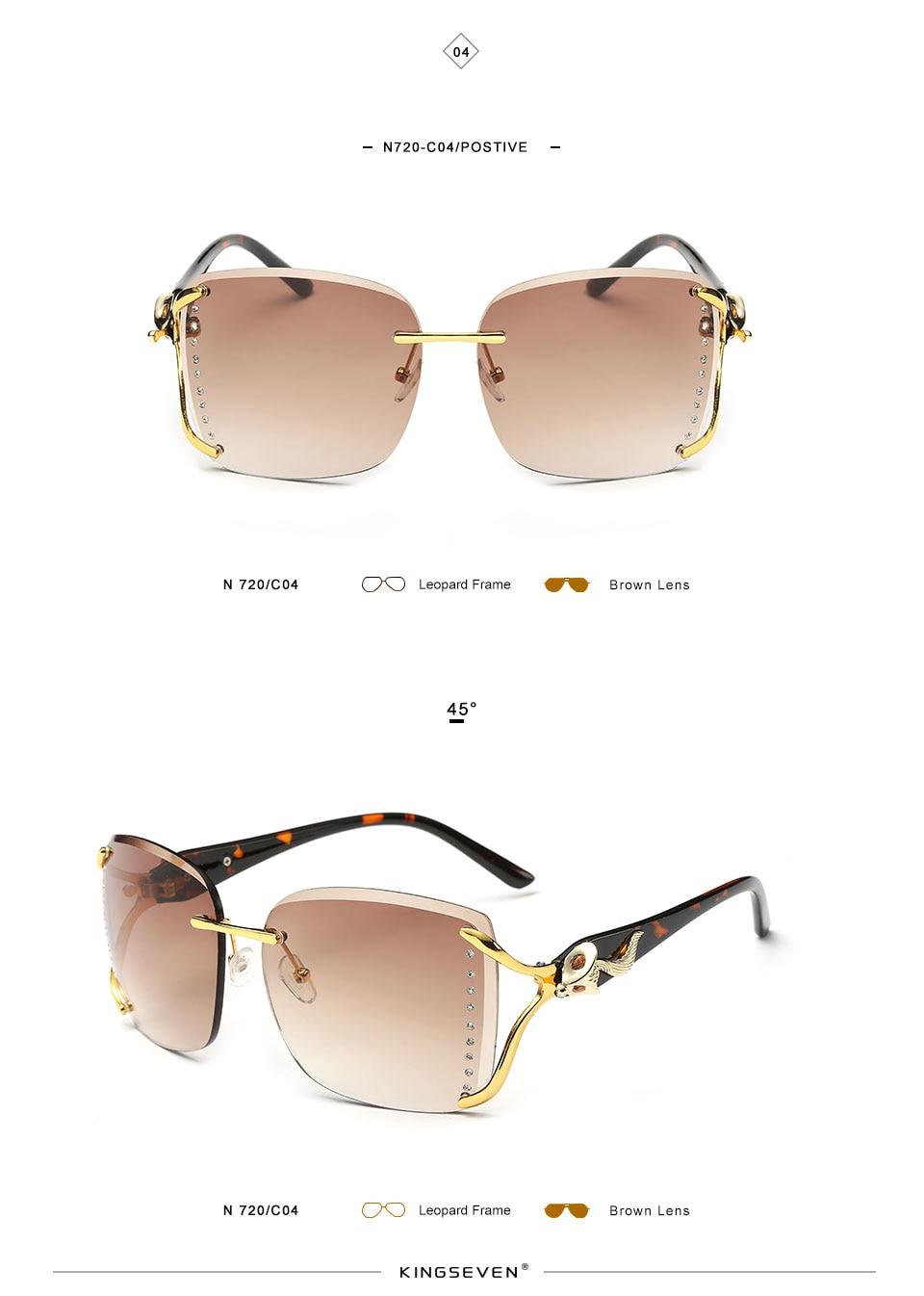 KINGSEEVEN Elegant Female Sunglasses Large frame fox decorated with diamond decoration Brand Designer Women's Glasses Feminine 8