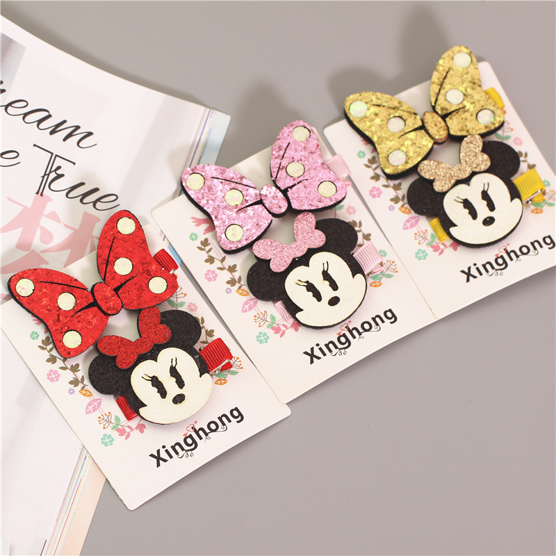 New cute Hello Kitty Minnie Mouse Girls Kids Hair Clips Hairpin Accessories For Children Hair Bow Barrette Hairclip Headdress new arrival ladies barrettes colorful dots cloth hair clips bb hairpin for girls women hair accessories 8pcs lot