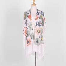 ZSyearth Flower Shap Scarf Summer Colorful Print Shawl Foulard Femme Pashmina Poncho Thin Women Soft Breathable Fashion Scarves