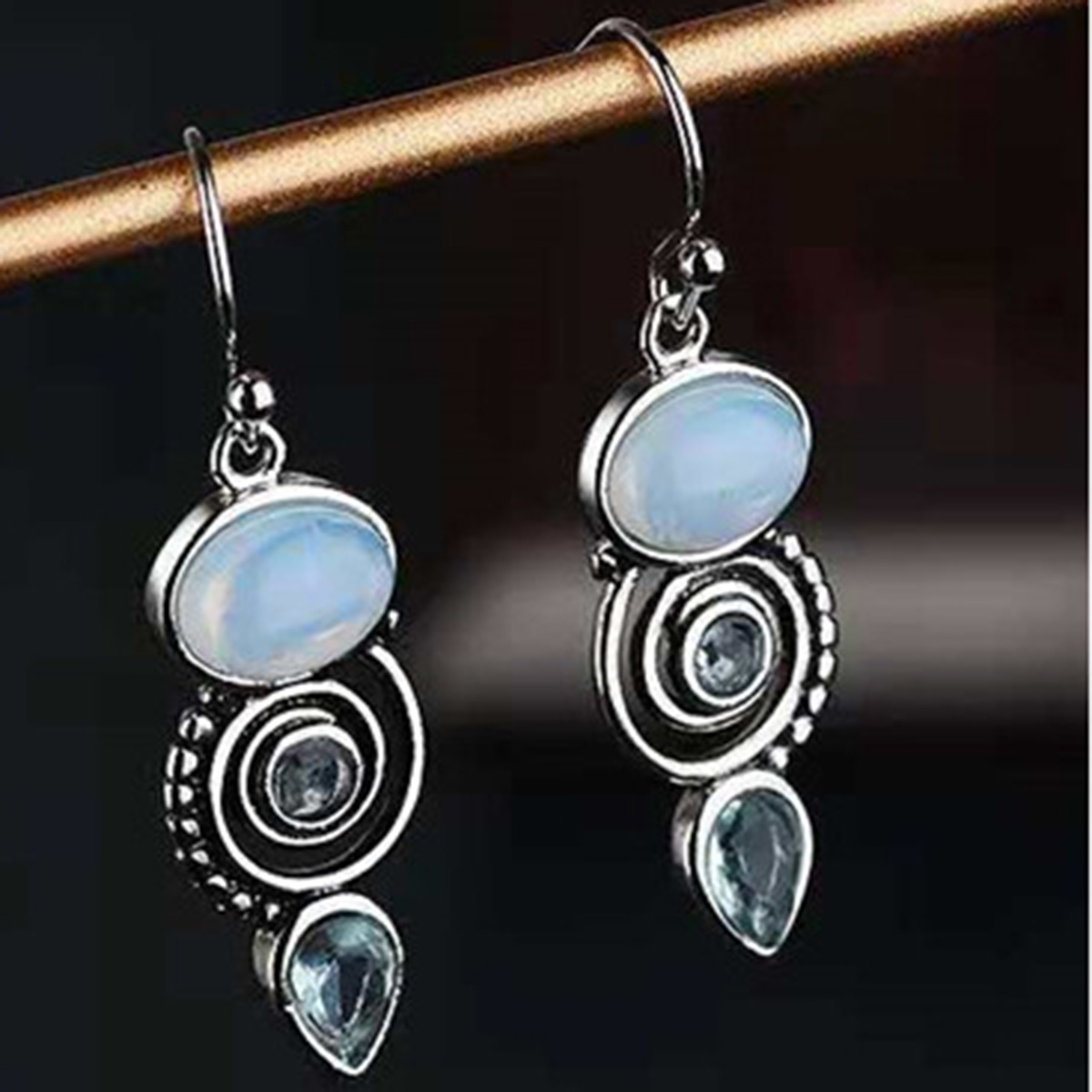 Vintage Ethnic Bohemian Style Crystal Spiral Dangle Earrings Silver Plated Hollow Round Drop Earrings Elegant Jewelry For Women