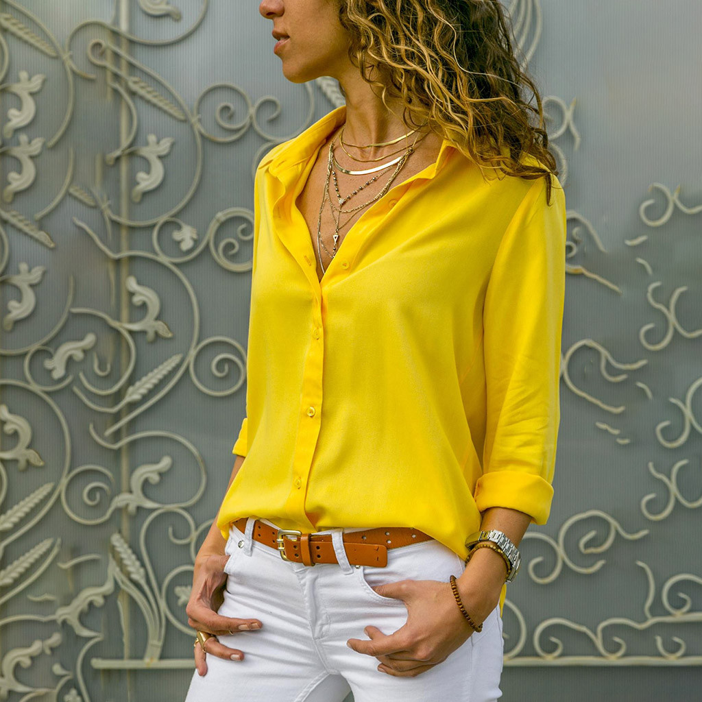 Women   Blouses   2019 Chiffon Solid   Blouse     Shirt   Summer Office Turn Down Collar Women Tops Yellow Blusas   Shirts