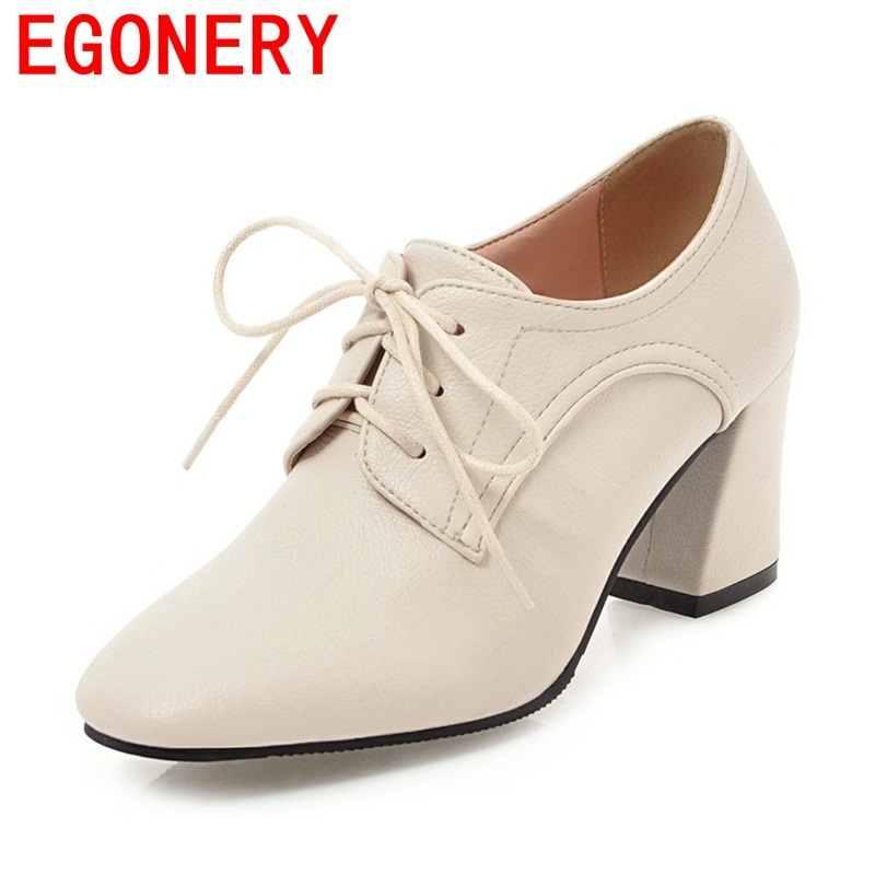 EGONERY women good quality high heels shoes casual shoes lace up office ladies spring autumn big size new style square toe pumps zjvi woman pointed toe thick high heels pumps 2018 women spring autumn lace up shoes ladies women s female nubuck casual pump