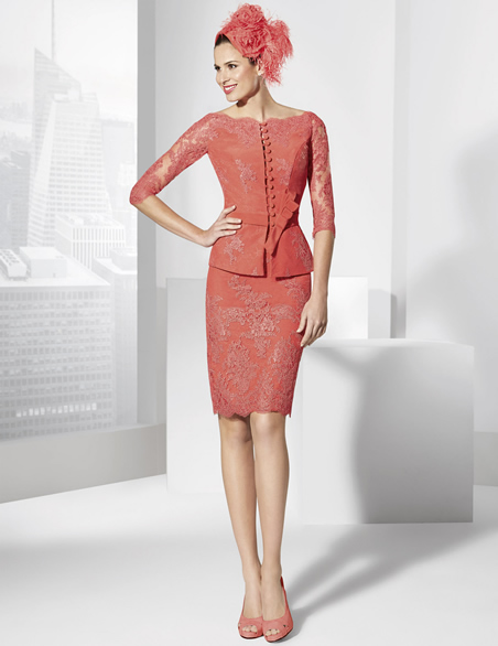 New Charming Red Lace Applique Knee Length Sheath Half Sleeves Mother Of The Bride Dresses With Jacket Custom Made