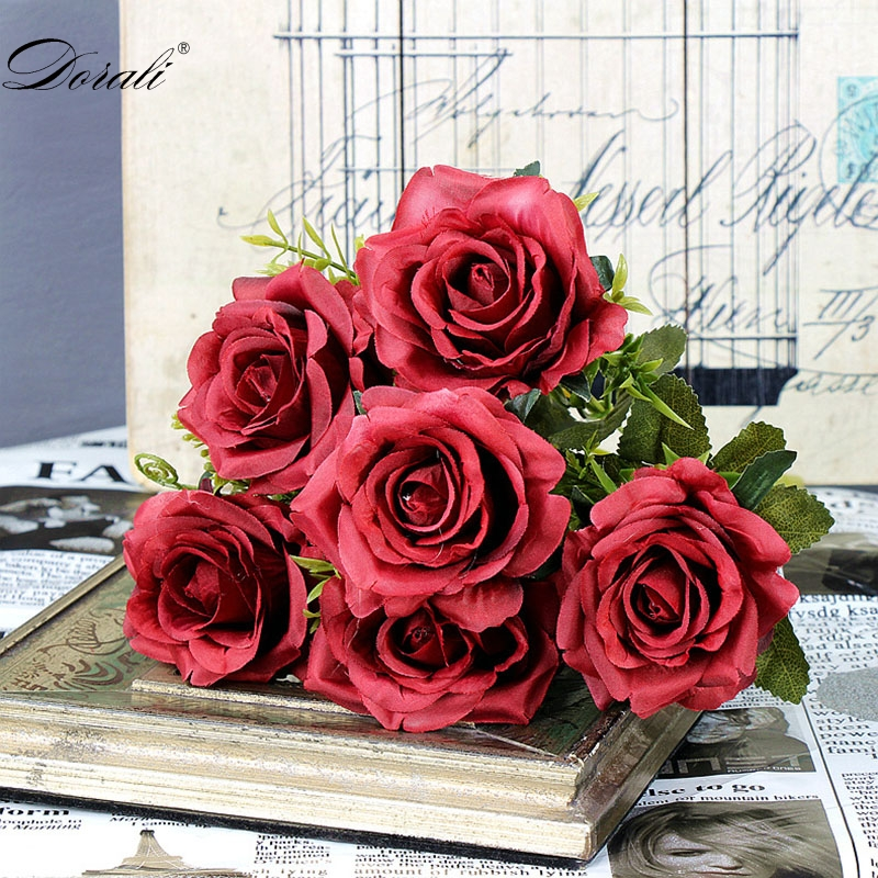 6 голов, белые розы, искусственные цветы, шелк, высокое качество, для свадебного украшения, зимние искусственные большие цветы, красные для домашнего декора, осень - Цвет: red flowers