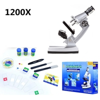1200x Student Kids Educational Toy Biological Microscope with Reflecting Mirror Illuminated Lamp Birthday Gift for Children
