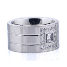 Wide Stainless Steel White Stone Rings