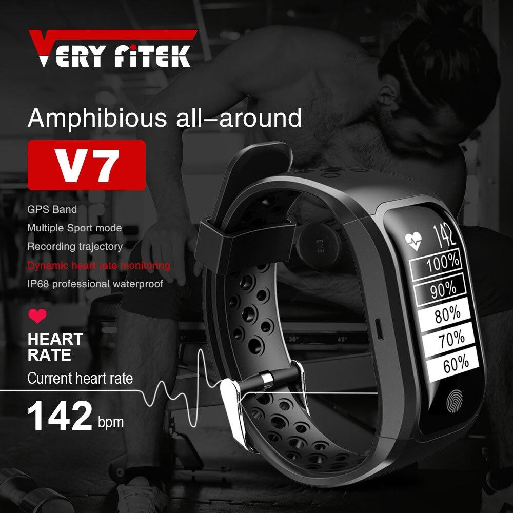VERYFiTEK V7 плавание Смарт Напульсники Фитнес браслет Ip68 Профессиональный Водонепроницаемый монитор сердечного ритма gps Фитнес браслет