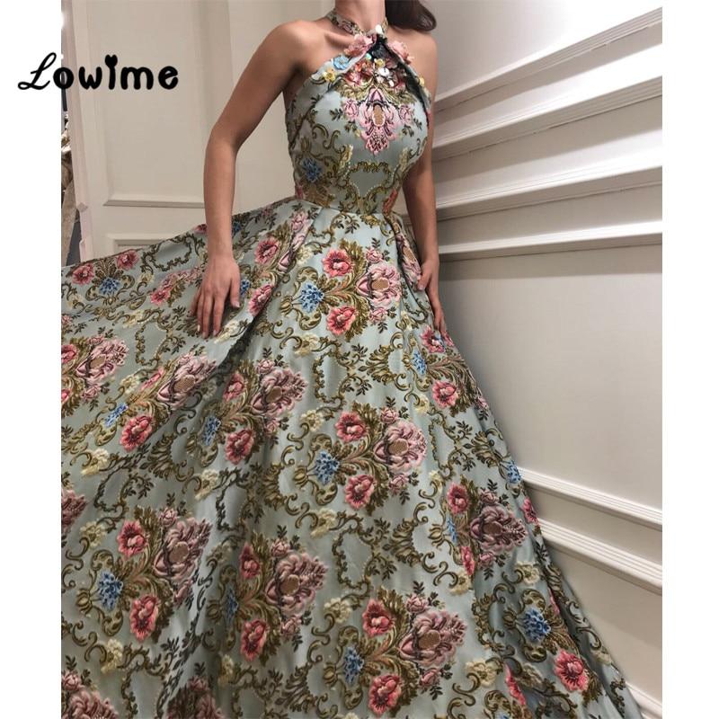 Floral Vintage Imprimir Halter Prom Vestidos De Alta Costura Vestido de Noite 2018 Vestido De Festa Longo Mulheres Elegantes Vestido de Festa Abendkleider