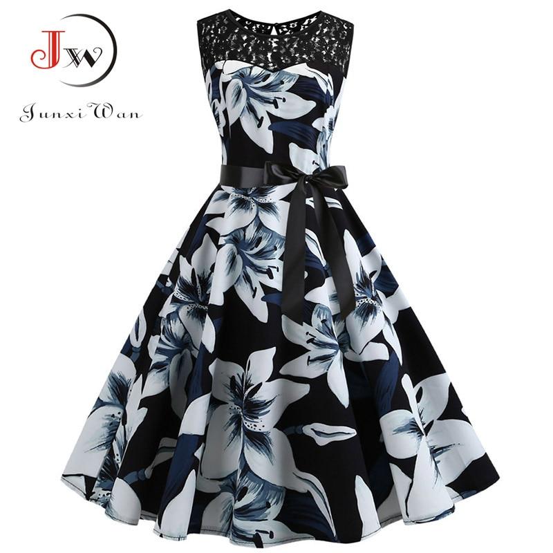 Lace Patchwork Floral Print Women Summer Dress Hepburn 50s 60s Elegant Vintage Dress Office Ladies A-Line Party Dresses Belt 1