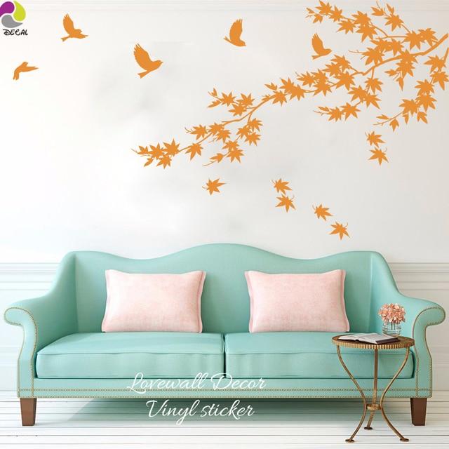 150cmx83cm Large Size Maple Leaf Tree Bird Wall Sticker Living Room Bedroom  Branch Animal Bird Decal Part 88