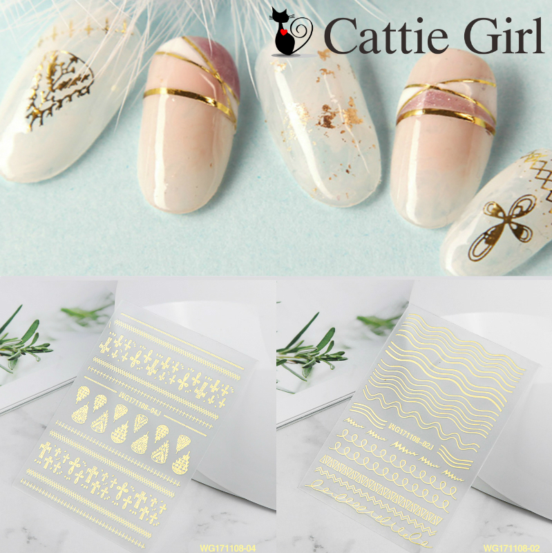 1 Sheet Gold Stamping 3D Nail Art Stickers Flower Flamingo Nails ...