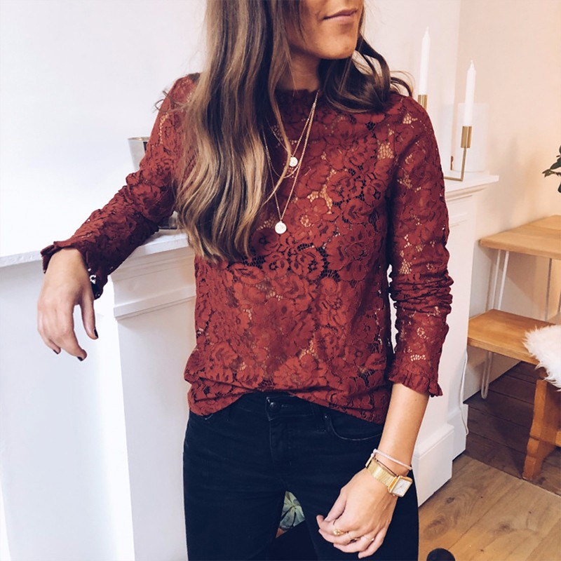 BEFORW Sexy Lace Hollow Out Perspective   Blouse     Shirt   2019 Women Elegant Flare Sleeve White   Blouses   Casual Floral Tops Blusas