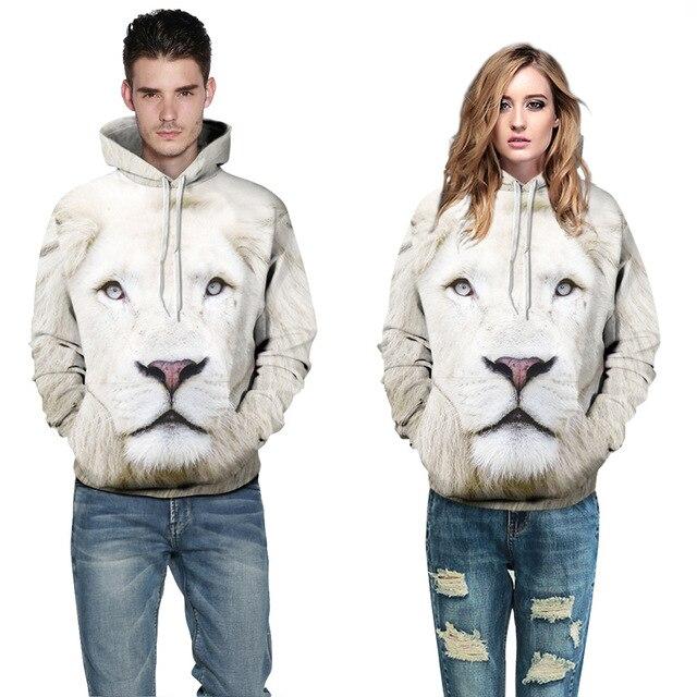 b0e1a739cfc7 Unisexe Couples Hommes Femmes 3D Graphique Imprimer Sweat À Capuche Veste  Pull Top Blanc Lion Survêtement