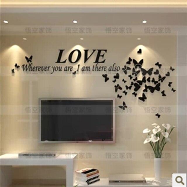 Romantique 3D stéréo TV fond mur chambre acrylique autocollants ...